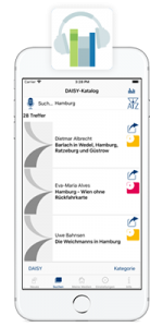 iPhone with running Talking Book Library app