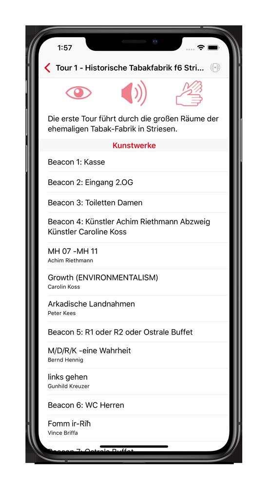 iPhone mit laufender AllSense-App welche sämtliche, in der Nähe befindlichen Ausstellungsstücke auflistet.
